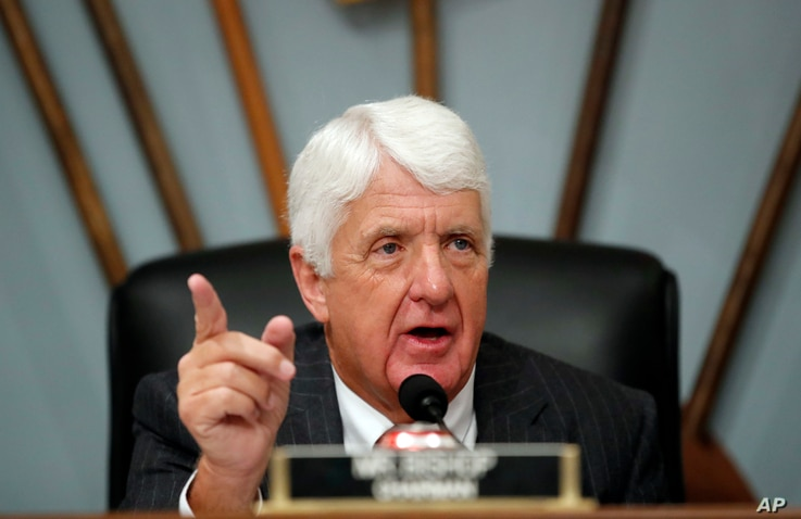 Chairman Rob Bishop of Utah, speaks during a House Committee on Natural Resources hearing to examine challenges in Puerto Rico's recovery after Hurricane Maria, Nov. 7, 2017 in Washington.