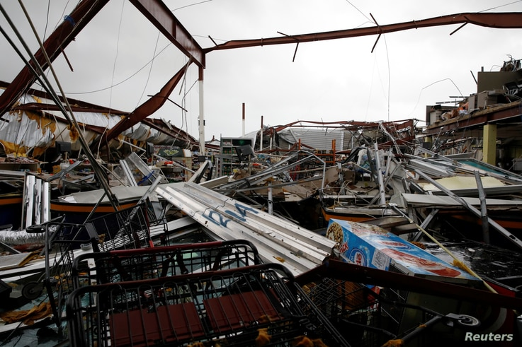 A supermarket was damaged after the area was hit by Hurricane Maria, Guayama, Puerto Rico Sept. 20, 2017.