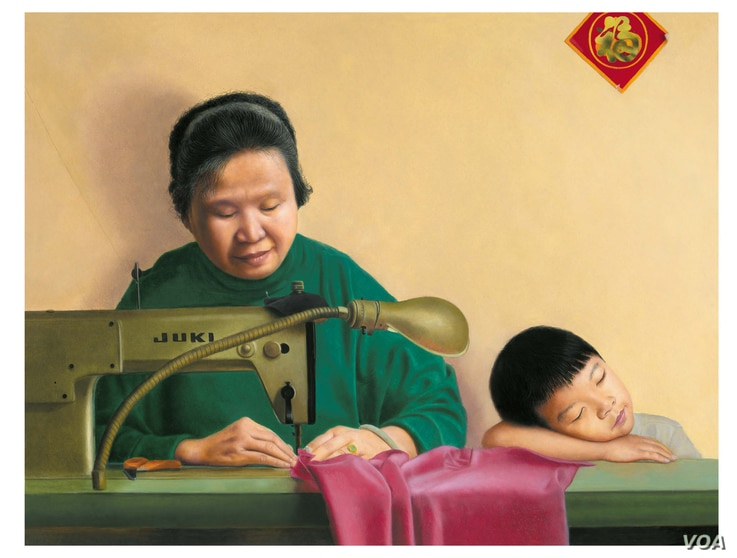 After working 12 hours a day in a Chinatown sweatshop, his mother would also take work home and work on it after dinner to earn more money to support them. (Kam Mak)