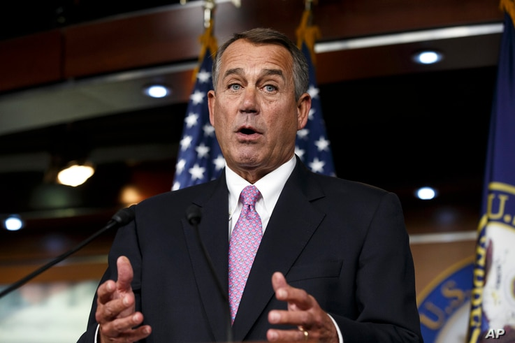 FILE - In this Feb. 6, 2014 file photo, House Speaker John Boehner of Ohio speaks during a news conference on Capitol Hill in Washington.