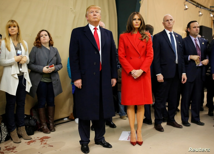 FILE - Republican U.S. presidential candidate Donald trump and his wife Melania.