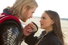 Left to right: Thor (Chris Hemsworth) and Jane Foster (Natalie Portman) in THOR, from Paramount Pictures and Marvel Entertainment.