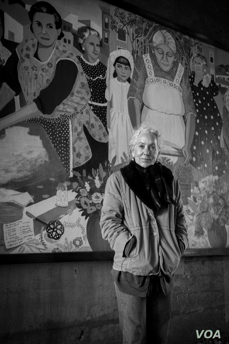"""Heidi Schork, Director of the Mayor's Mural Crew for the City of Boston, conceived the idea for the """"Immigrant Grandmothers"""" mural after noticing more elderly women on East Boston's streets than in other areas of the city."""