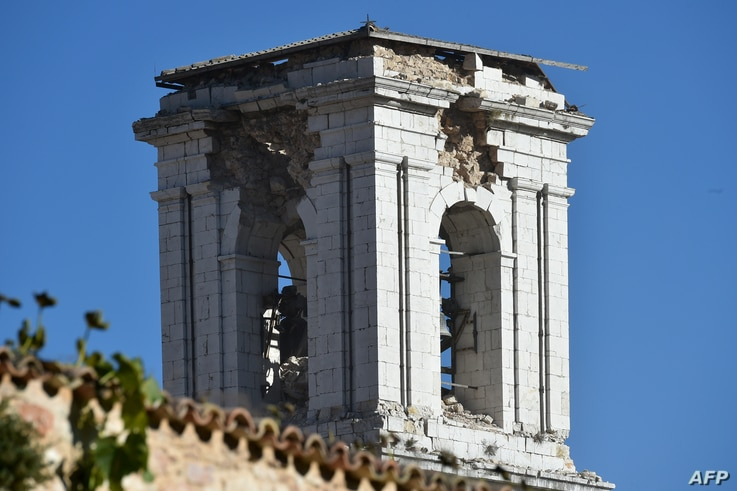 A picture shows a damaged campanile after a 6.6 magnitude earthquake in Norcia, Italy, Oct. 30, 2016.