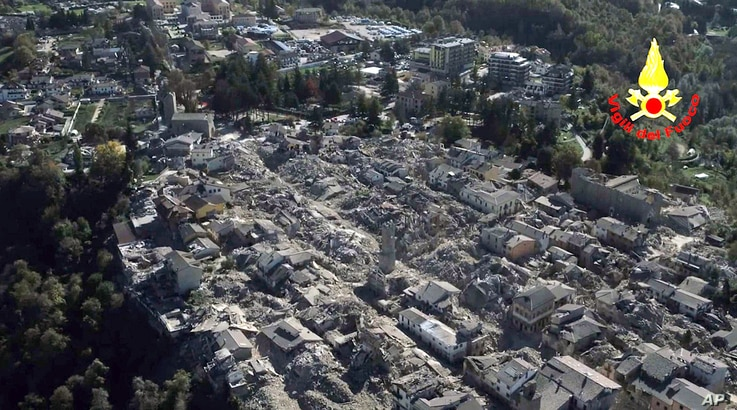 An aerial view of the destroyed hilltop town of Amatrice after an earthquake with a preliminary magnitude of 6.6 struck central Italy, Oct. 30, 2016.