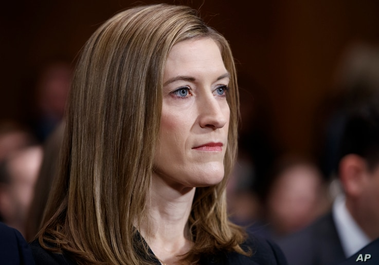 Associate Attorney General-designate Rachel Brand listens on Capitol Hill in Washington, March 7, 2017, during her confirmation hearing before the Senate Judiciary Committee.