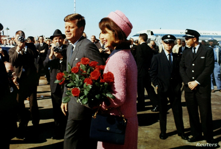 FILE PHOTO: President John F. Kennedy and first lady Jacqueline Bouvier Kennedy arrive at Love Field in Dallas, Texas, on November 22, 1963.