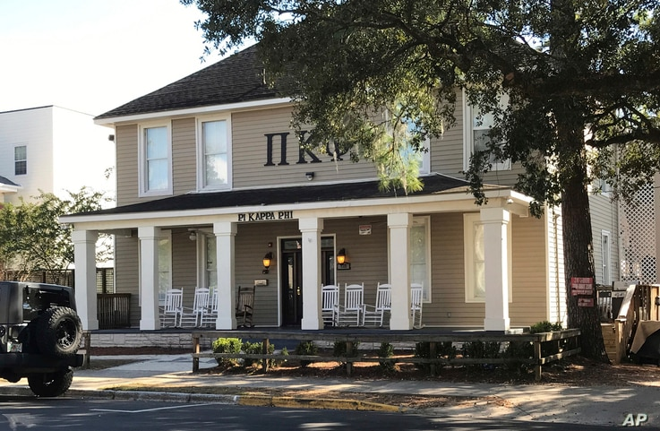 This Nov. 7, 2017, photo shows the Pi Kappa Phi fraternity house near Florida State University in Tallahassee, where a fraternity pledge died of alcohol poisoning.