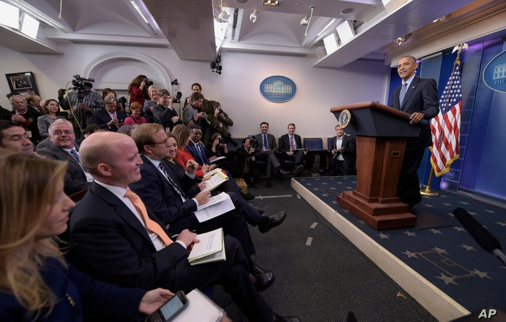 President Barack Obama thanks the members of the press as he begins his final presidential news conference, Jan. 18, 2017, in the Brady Press Briefing Room of the White House in Washington.
