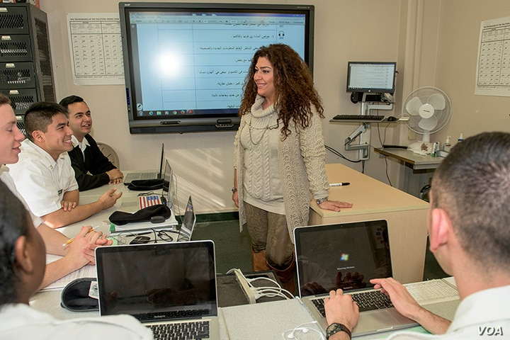 Souzy Guirguis teaches military students in Egyptian dialect at the Defense Language Institute Foreign Language Center (Courtesy - DLI).
