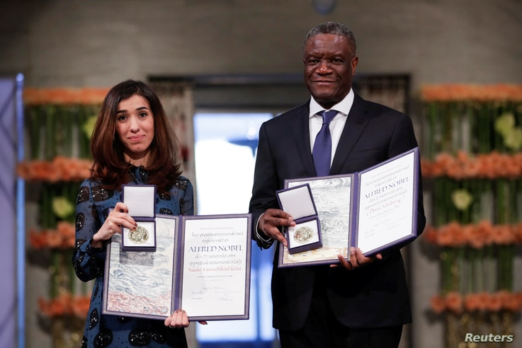 The Peace Prize laureates Iraqi Nadia Murad and Congolese doctor Denis Mukwege receive the Nobel Peace Prize for their efforts to end the use of sexual violence as a weapon of war and armed conflict at the Nobel Peace Prize Ceremony in Oslo Town Hall...