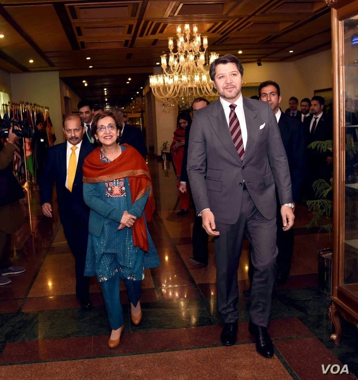 Pakistani Foreign Secretary Tehmina Janjua (L) and Afghan Deputy Foreign Minister Hekmat Khalil Karzai lead their respective delegations in two-day bilateral talks which opened in Islamabad, Pakistan, Feb. 09, 2018. (Courtesy - Pakistan Foreign Minis...