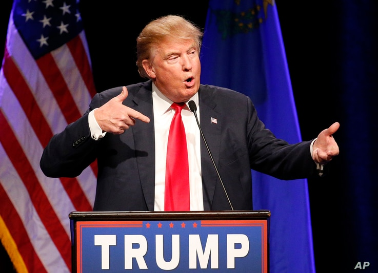 FILE - Then-Republican presidential candidate Donald Trump speaks about Army Sgt. Bowe Bergdahl at a rally in Las Vegas, Dec. 14, 2015. An Army judge has ruled Trump's scathing criticism of Bergdahl will not prevent the soldier from getting a fair ...