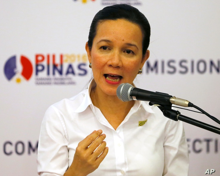 Presidential candidate Sen. Grace Poe addresses the media shortly after filing her certificate of candidacy before the Commission on Elections, Oct. 15, 2015, in Manila.