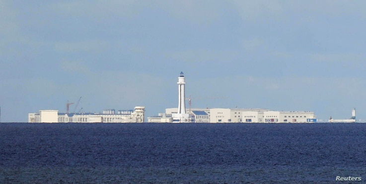 FILE - Chinese structures are pictured at the disputed Spratlys in South China Sea, April 21, 2017.