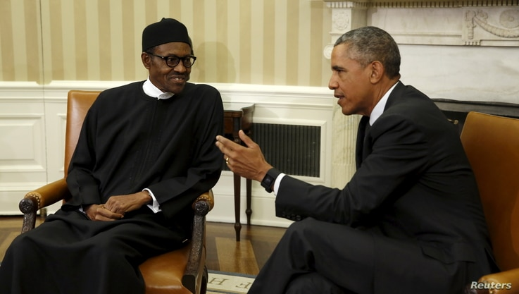President Barack Obama meets with Nigerian President Muhammadu Buhari (L) in the Oval Office of the White House in Washington July 20, 2015.