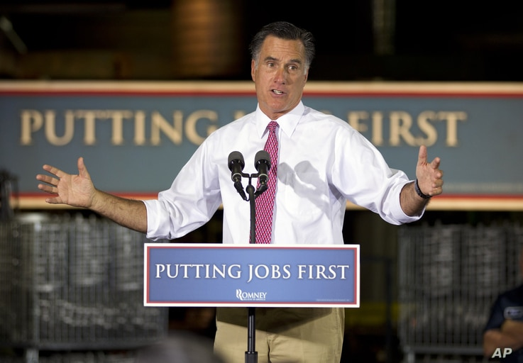 Republican presidential candidate, former Massachusetts Gov. Mitt Romney gestures during a campaign stop at Seilkop Industries in Cincinnati, Ohio, Thursday, June 14, 2012.