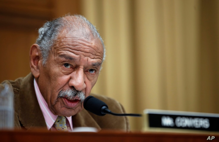 FILE- Rep. John Conyers, D-Mich., speaks during a hearing of the House Judiciary subcommittee on Capitol Hill in Washington, April 4, 2017.