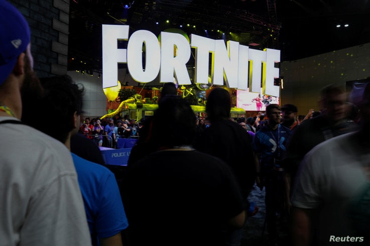 FILE - The Fortnite booth is shown at a video game industry convention in Los Angeles, California, June 12, 2018.