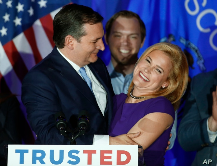 Republican presidential candidate Sen. Ted Cruz, R-Texas, hugs his wife Heidi, during a primary night campaign event, in Milwaukee, April 5, 2016.