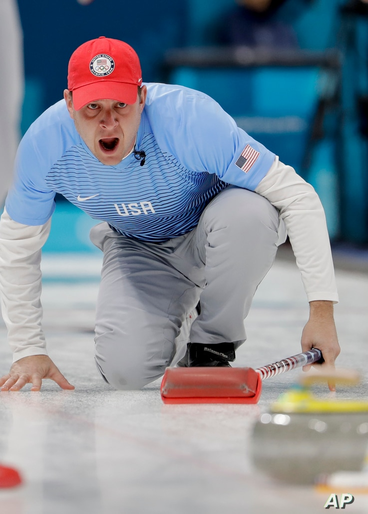 United States skip John Shuster makes a call during a men's curling match against Switzerland at the 2018 Winter Olympics in Gangneung, South Korea, Feb. 20, 2018.