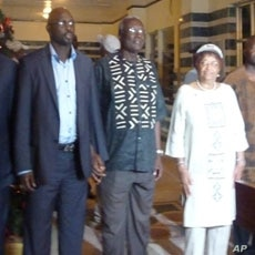 President Sirleaf with CDC's Tubman and Weah