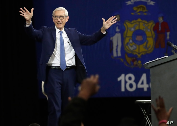 FILE - Wisconsin Democratic candidate for governor Tony Evers speaks at a rally in Milwaukee, Oct. 26, 2018.