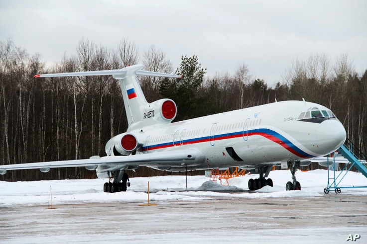 FILE - This photo shows the Tu-154 plane with registration number RA-85572 at a military airport near Moscow.  This plane was taking the Alexandrov Ensemble to a concert at the Russian air base in Syria when it crashes just after takeoff from Sochi.