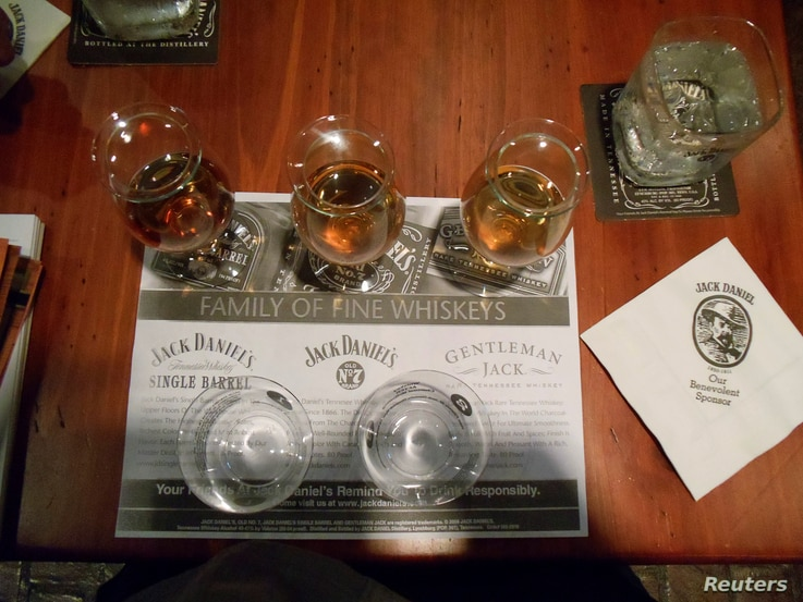 FILE - A whiskey tasting station is seen at the Jack Daniel's distillery in Lynchburg, Tennessee, May 10, 2011.