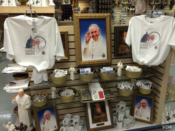 Pope Francis memorabilia is front and center in the gift shop at the Basilica of the National Shrine of the Immaculate Conception in Washington, D.C., where the pope is scheduled to canonize 18th-century Franciscan missionary Junipero Serra on Sept. ...