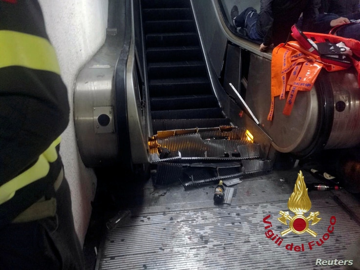 A part of the underground escalator damaged at the metro station at Piazza Repubblica in Rome, Italy, Oct. 23, 2018.