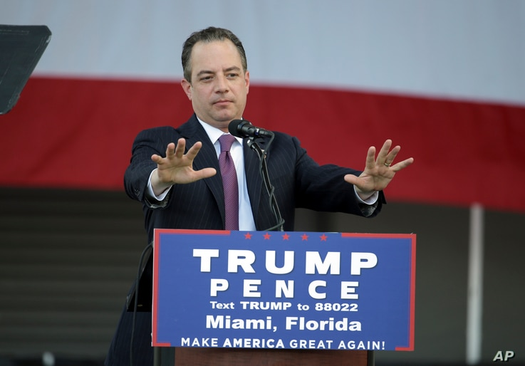 Reince Priebus, chairman of the Republican National Committee, speaks at a campaign rally for Donald Trump in Miami, November 2, 2016.  Priebus will serve as Trump's chief of staff.