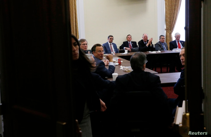 Members of the House Freedom Caucus meet on Capitol Hill, March 23, 2017.
