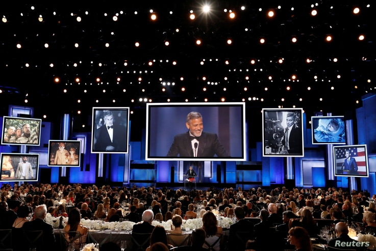 Actor George Clooney accepts the 46th AFI Life Achievement Award in Los Angeles, California, June 7, 2018.