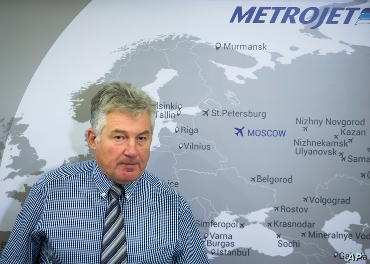Alexander Smirnov, the deputy general director of Metrojett, the Russian airline company speaks to the media about their plane, which crashed Saturday in Egypt's Sinai Peninsula, in Moscow, Russia, Nov. 2, 2015.