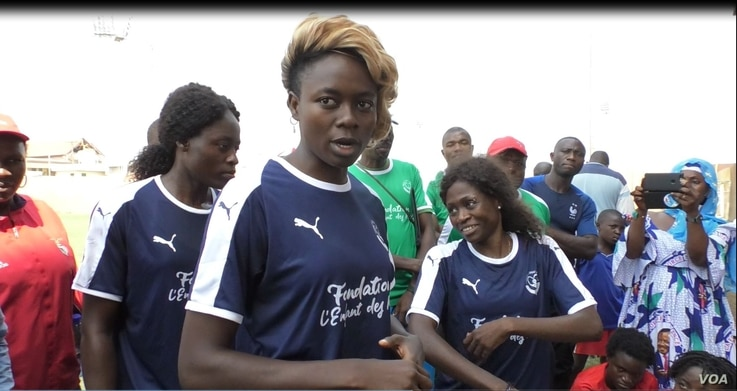 International football player Enganamouit Gaelle is seen at Yaounde's Ahmadou Ahijo stadium during the selection of players for the Rails Football Academy, Cameroon. (ME Kindzeka for VOA)