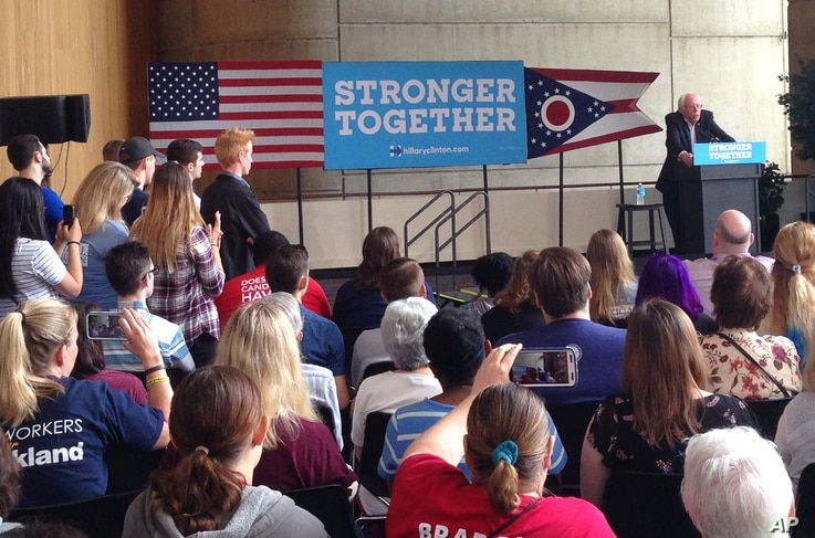 Vermont Sen. Bernie Sanders, campaigning on Democrat Hillary Clinton's behalf, speaks to an audience at the University of Akron in Akron, Ohio, Sept. 17, 2016.