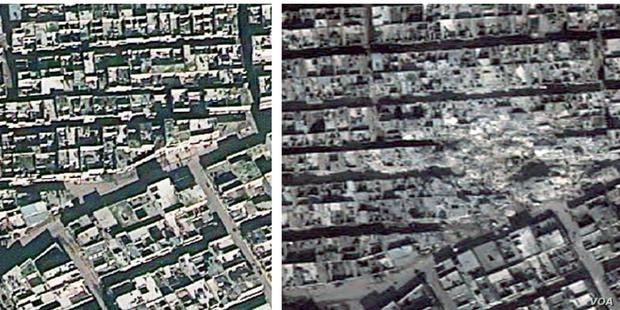 Aerial view of Aleppo from December 2012 on the left and February 2013 on the right, after ballistic missile strikes. (DigitalGlobe/Atrium/Analysis by AAAS)