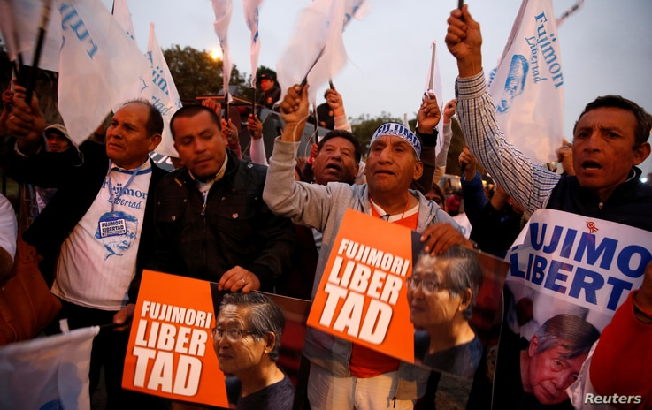 People attend a rally demanding the release of former President Alberto Fujimori in Lima, Peru, July 22, 2016.