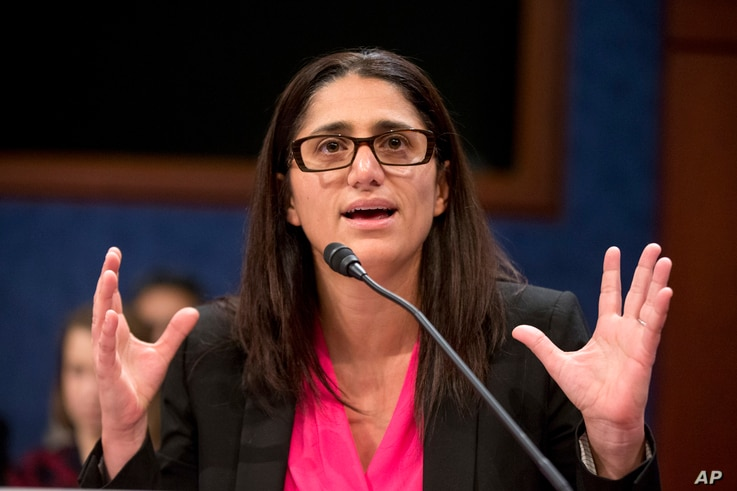 FILE - Dr. Mona Hanna-Attisha speaks on Capitol Hill in Washington during a House Democratic Steering and Policy Committee hearing on the Flint water crisis, Feb. 10, 2016.