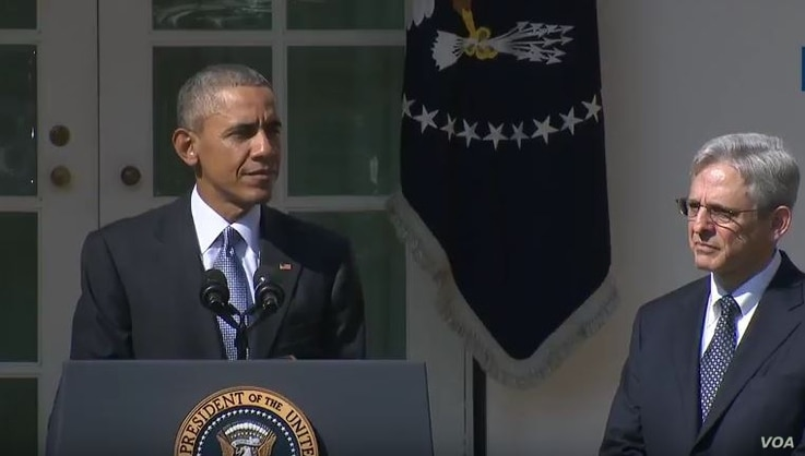 President Barack Obama announced the selection of federal appeals court judge Merrick Garland as his Supreme Court nominee, at the White House in Washington, D.C., March 16, 2016.