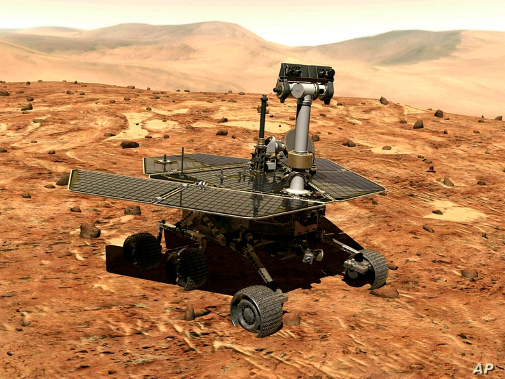 ILE - This illustration made available by NASA shows the rover Opportunity on the surface of Mars. The exploratory vehicle landed on Jan. 24, 2004, and logged more than 28 miles (45 kilometers) before falling silent during a global dust storm in June...