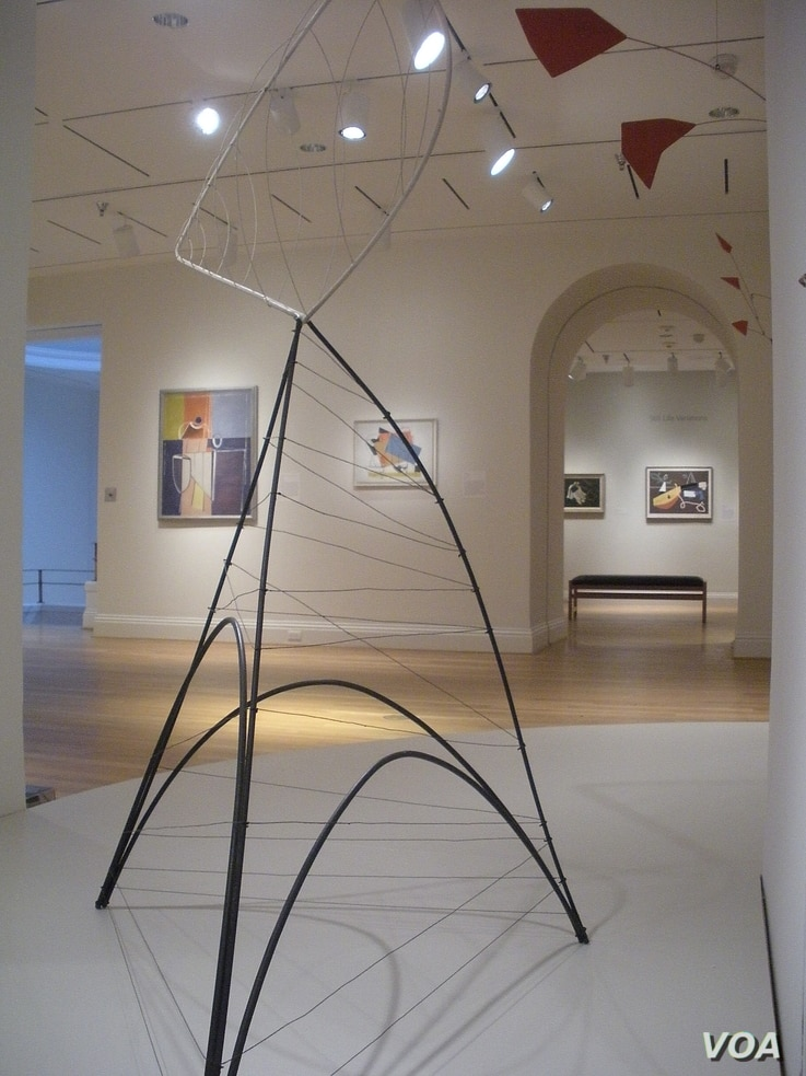 """The sculpture """"Hollow Egg"""" by Alexander Calder is on display at The Phillips Collection, in Washington, D.C., March 2014. (J. Taboh/VOA)"""