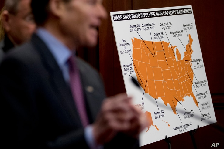 Sen. Richard Blumenthal, D-Conn., speaks at a news conference on an proposed amendment to ban high capacity magazines in guns, on Capitol Hill, Tuesday, Feb. 12, 2019, in Washington.