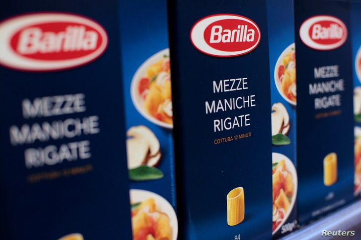 FILE - Packs of Barilla pasta are seen in a supermarket in Rome, Italy, Sept. 27, 2013.