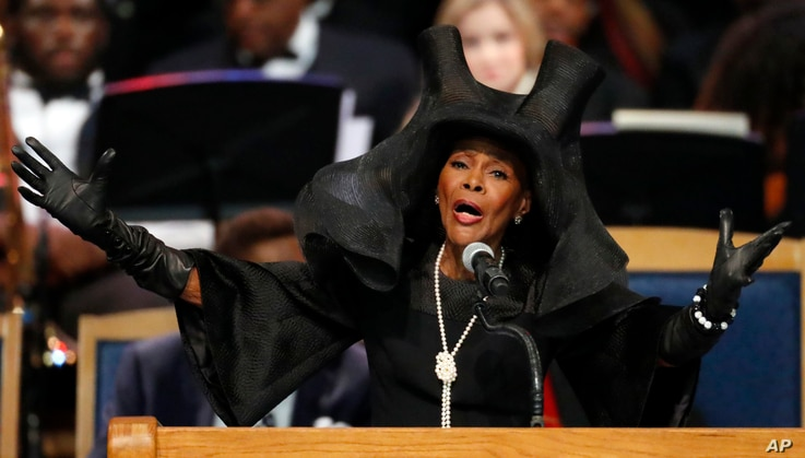 Cicely Tyson speaks during the funeral service for Aretha Franklin at Greater Grace Temple in Detroit, Aug. 31, 2018.