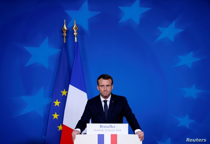 French President Emmanuel Macron addresses a news conference during European Union leaders informal summit in Brussels, Belgium, Feb. 23, 2018.
