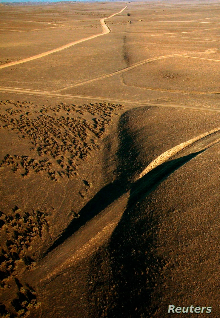 A view of the San Andreas Fault looks southeast in the Carrizo Plain, north of Wallace Creek, California, in this undated U.S. Geological Survey photograph.