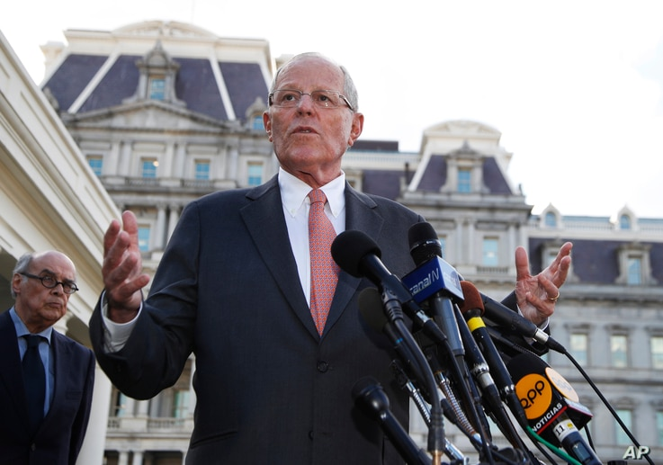 Peruvian President Pedro Pablo Kuczynski speaks to reporters outside the West Wing of the White House in Washington, Feb. 24, 2017, after a meeting with President Donald Trump.