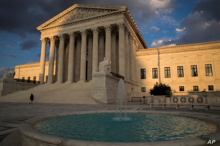 The Supreme Court building in Washington at sunset, Oct. 10, 2017.